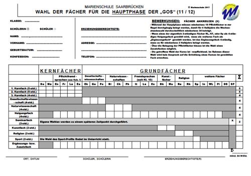 Fächerwahl in Klasse 10 der Marienschule Saarbrücken